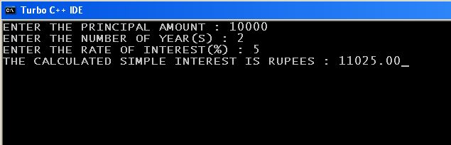 C_program_Compound_Interest_Function_Output