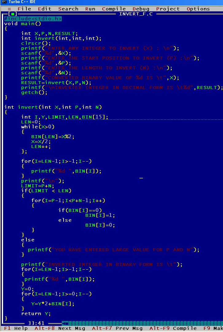 C_program_Invert_Function