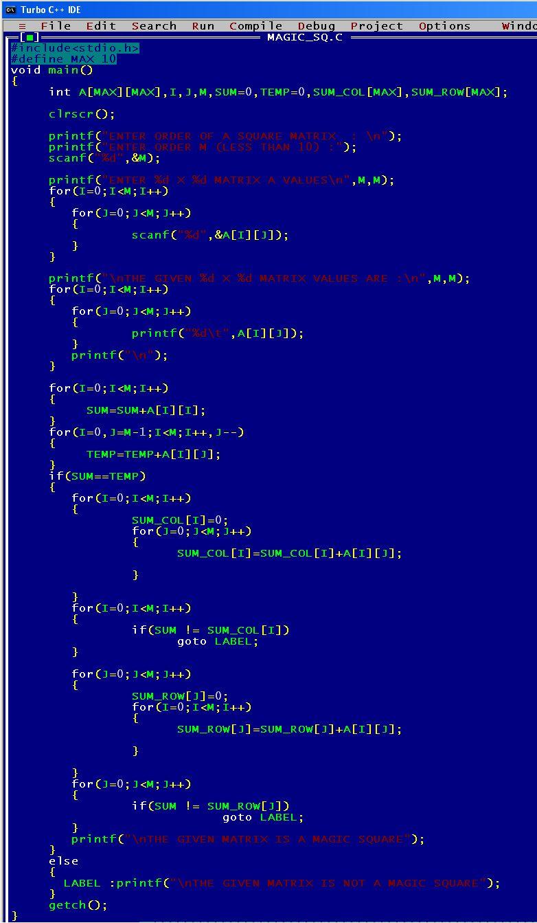 C_program_Matrix_Magic_Square