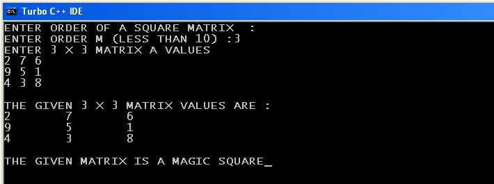 C Program Check Magic Square Matrix Computer Science