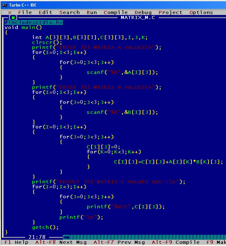An C Program To Multiply Two Matrices Matrix Computer