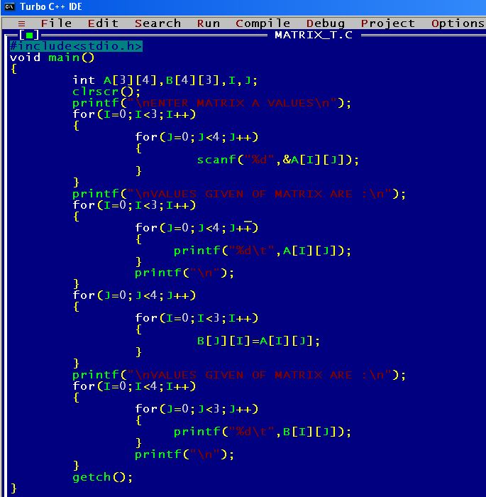 C_program_Matrix_Transpose