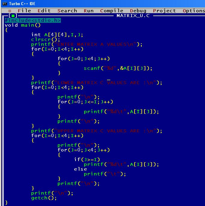 A C program to print the upper and lower triangle of matrix