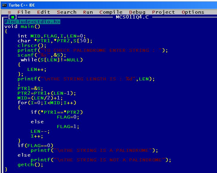 C Program Palindrome String Test Computer Science