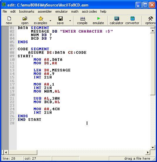 Assembly program to convert ASCII code to its BCD equivalent