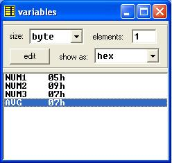 Assembly program to find average of three numbers in memory