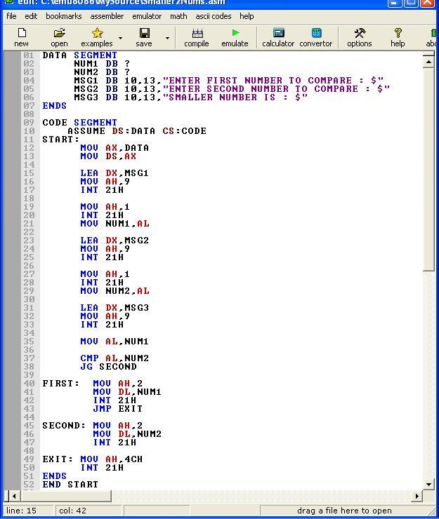 Asm_program_Smaller_of_Two_Numbers