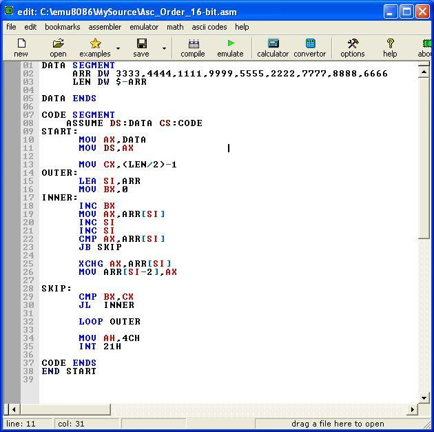 Asm_program_Ascend_Order_16-bit