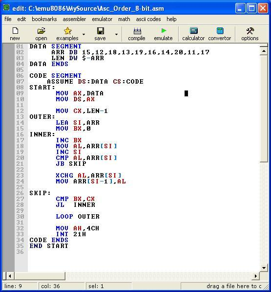 Asm_program_Ascend_Order_8-bit