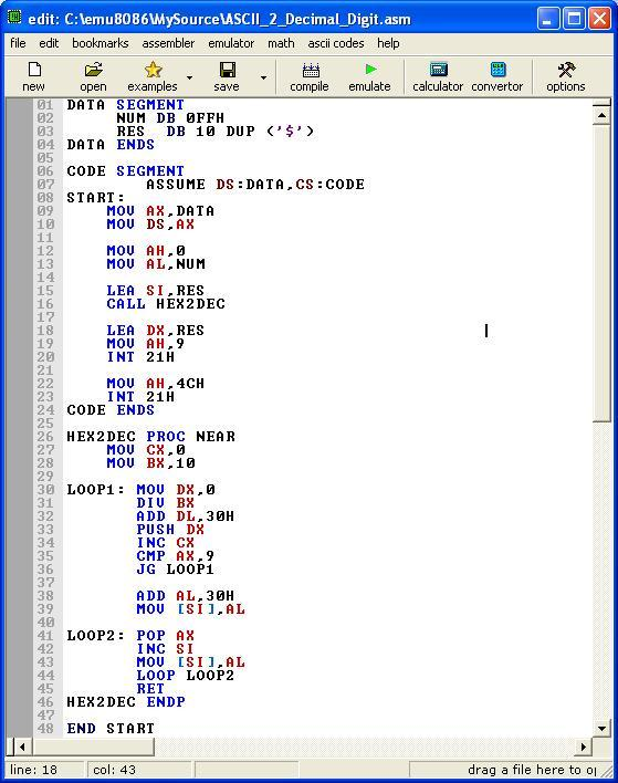 Asm_program_Ascii_Num_To_Decimal_Num