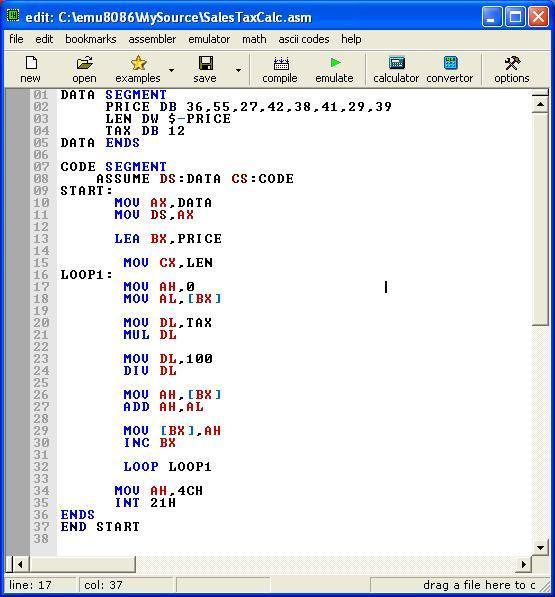Asm_program_Calc_SalesTaxToList