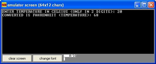 Asm_program_Celsius_2_Faherenheit_Output