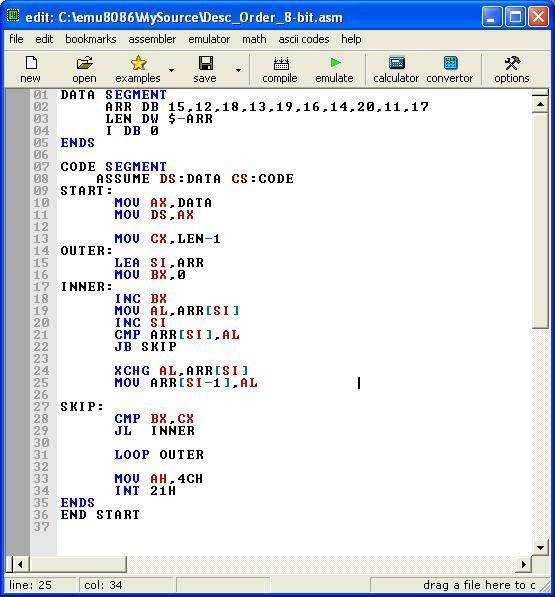Asm_program_Desc_Order_8-bit
