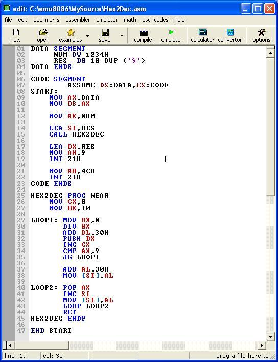 An Assembly program to convert Hexadecimal to Decimal form