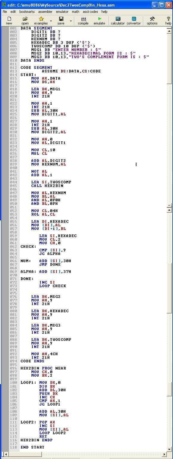Asm_program_Dec_to_2sCompBin_Hexa