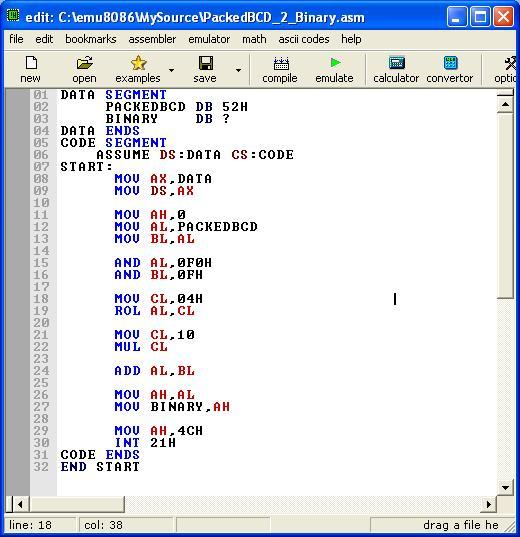 Asm_program_Packed_BCD_to_Binary
