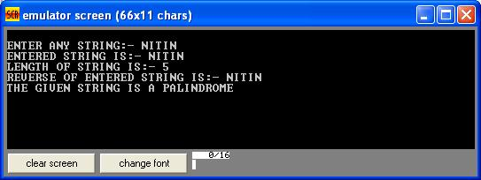 Assembly Program to determine a given string is a palindrome