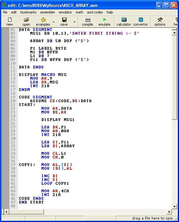 Asm_program_String_Ascii_to_Array