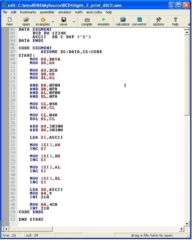 Assembly language to convert a packed BCD into ASCII digits