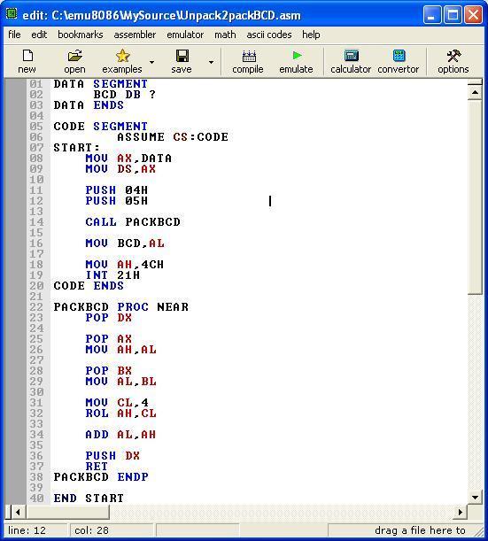 Asm_program_Unpack_Pack_BCD_Ftn