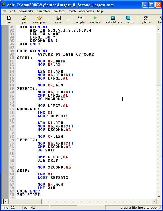 Write a program in assembly language to add two numbers