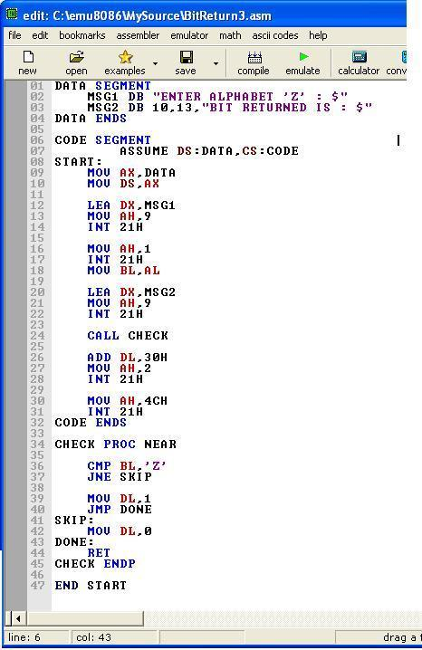 Asm_program_Procedure_Bit_Return3