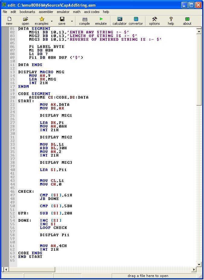 Asm_program_UpperCase_and_next_char
