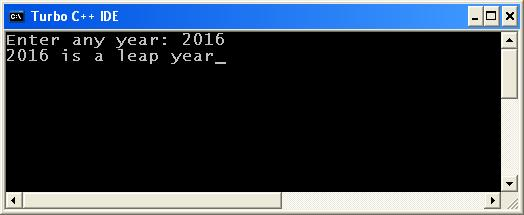 C_program_Leap_Year_Output