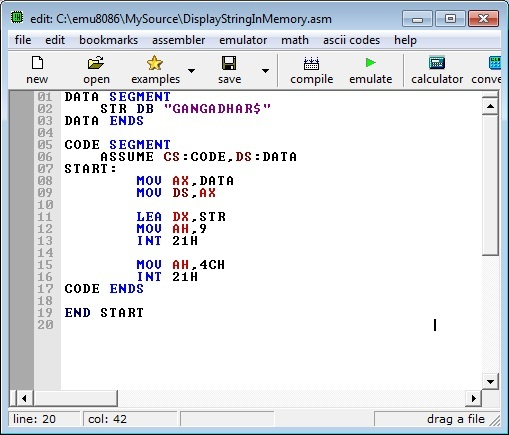 Asm Program Display String Memory