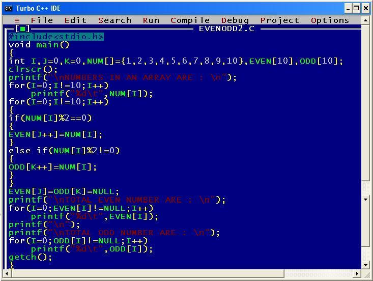 C_program_Separate_Even_Odd