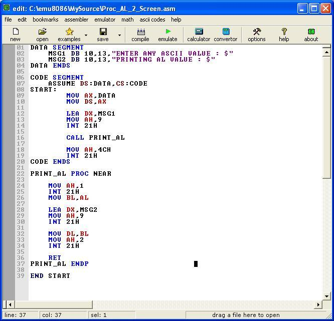 Asm_program_Proc_AL_2_Screen