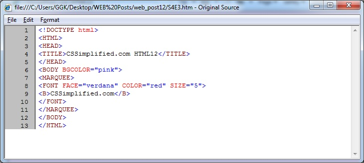Write Html Code To Create Web Page Display A Moving