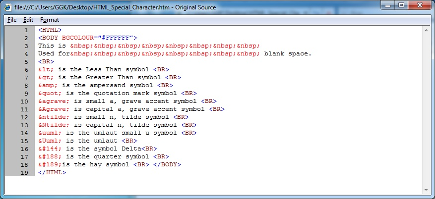 HTML_Special_Character_Source_Code