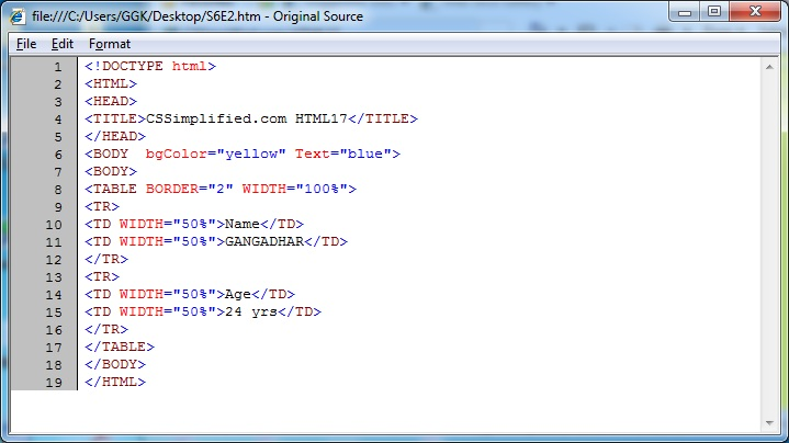 Html17 create web page with table having 2 row col with - Html code for creating table ...