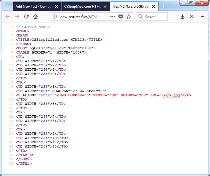 HTML_Row_Colspan_Source_Code