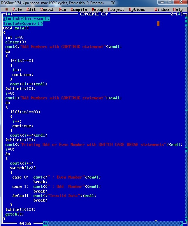 CPP_program_Continue_Switch_Break